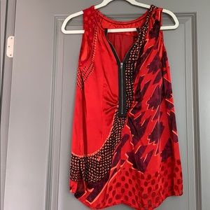 Small red and black tunic blouse